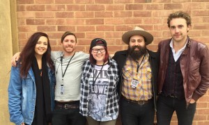 Certificate IV student Ciara Keller (centre) with Music SA alumni and Semaphore Music Festival Artist Liasion & Volunteer Coordinator Jordan Tito, Melt Frank Music operator Steve Pitkin, The Bitter Darlings guitarist Nic Cioffi and singer-songwriter Kaurna Cronin.